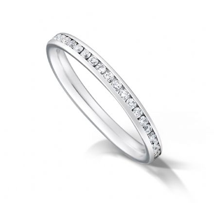 Channel set court eternity/wedding ring, platinum. 2mm x 1.7mm. 1/3 coverage